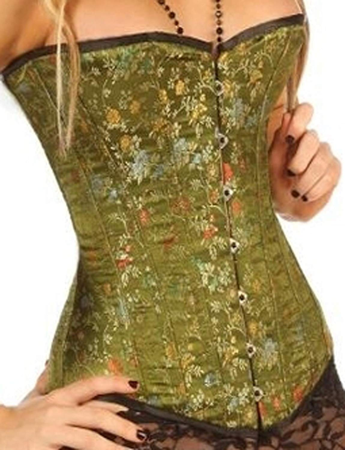 fe5e0bddd65 Get Quotations · Green Brocade Silk Corset Basque Fashion Corsets 1801 G