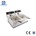 Commercial Electric Fryer Stainless Steel potato chips making machine2 tank 2 basket Electric Deep Fryer