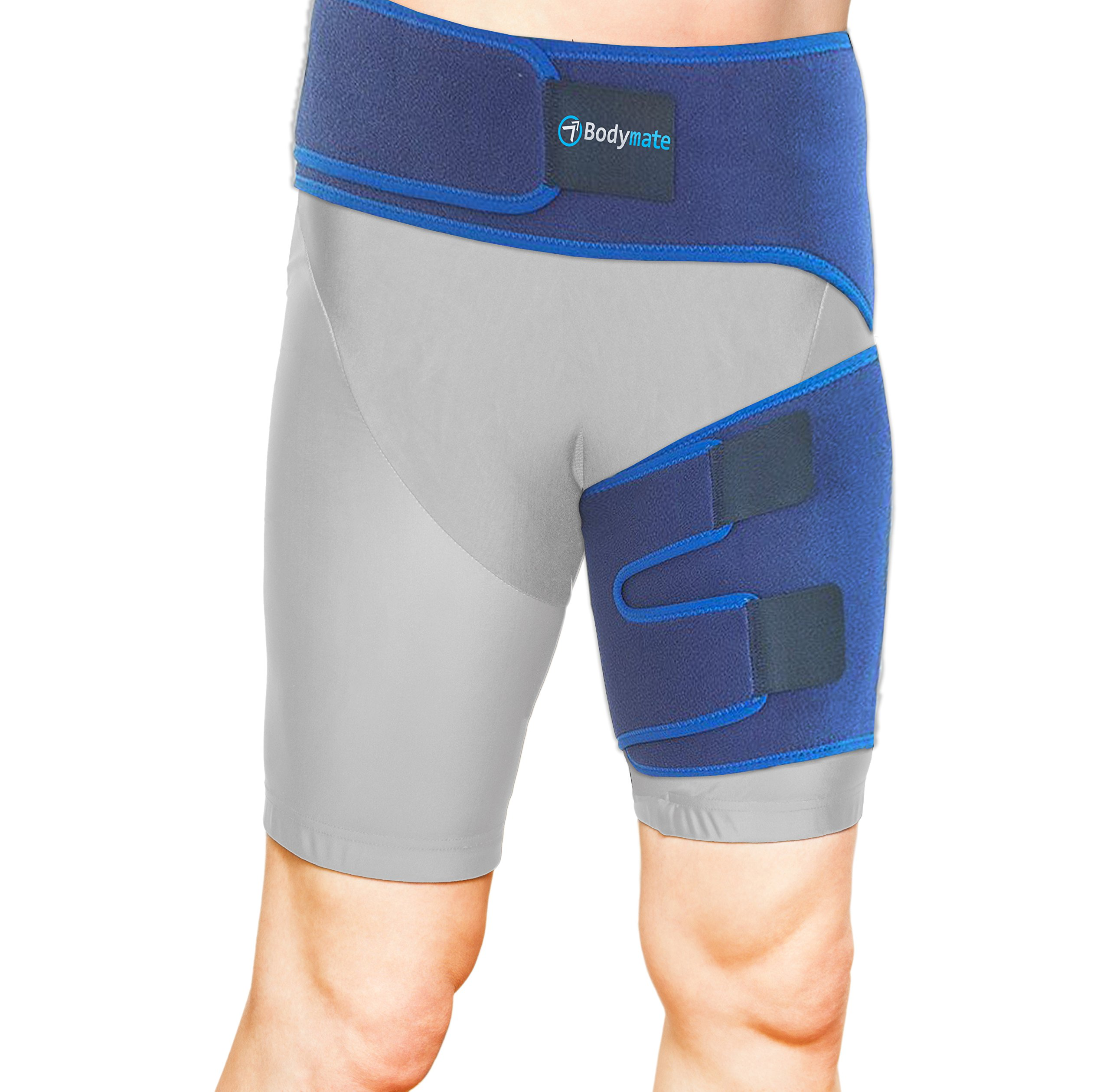 79609abe75 Bodymate Compression Wrap for Groin Hip Thigh Quad Hamstring Joints  Sciatica Nerve Pain Relief Strap,