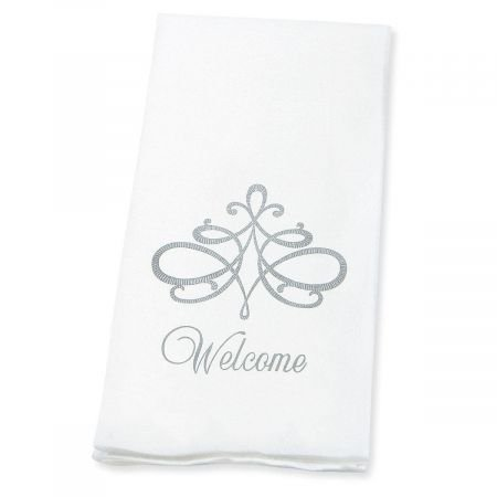"Welcome Silver Scroll Linen-Like Disposable Hand Towels (Set of 100)- 50% Cotton 50% Paper blend, 13"" by 17"" Open and 4 1/2"" by 8 1/2"" Closed, Wedding Party, Anniversary party, Holiday Party Supplies"