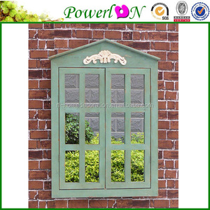 Wholesale New Cheap Antique Outdoor Shuttered Mirror With Wooden Frame Decorative Painting Mirror For Home