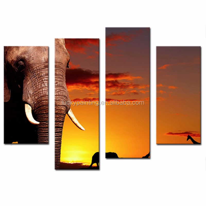 LK483 4 Panel Wall Art Yellow Orange African Nature Concept African Elephant In Savanna At Sunset Tree Giraffe Painting Pictures