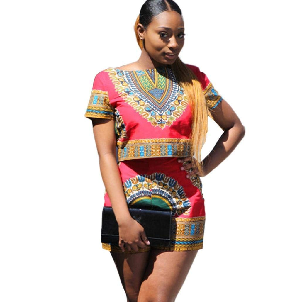 d8ce52d636fe4b Get Quotations · Hot Dashiki Outfit!Elevin(TM)2017 Women Summer African  Printing Short Sleeve 2
