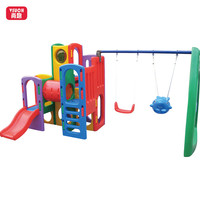 Colorful Plastic Indoor Outdoor Attractive Kids Indoor Plastic Swing And Slide Play Set