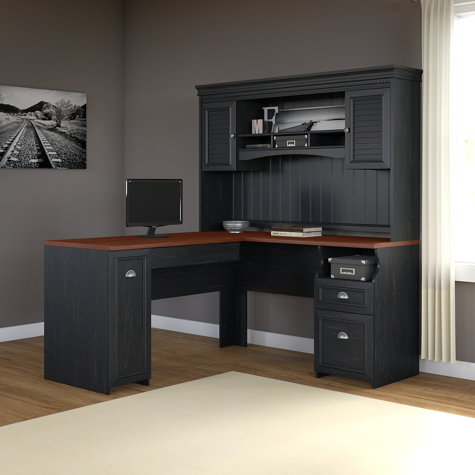 black products water sauder desk edge with hutch computer