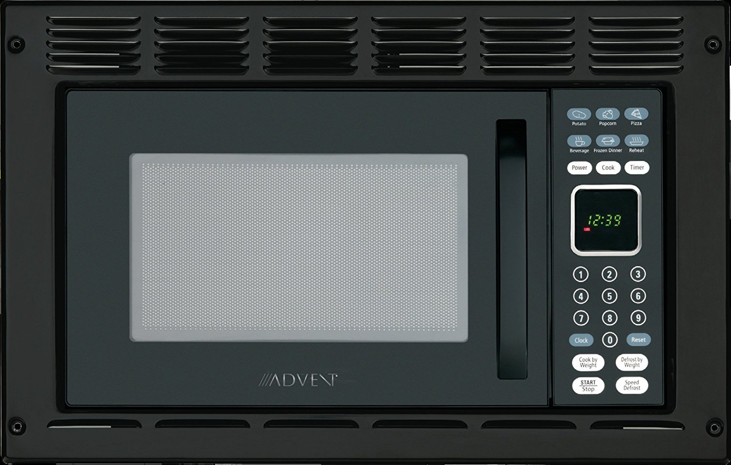 Advent MW912BWDK Black Built-in Microwave Oven with Wide Trim Kit PMWTRIM, Specially Built for RV Recreational Vehicle, Trailer, Camper, Motor Home etc., 0.9 cu.ft. capacity, 900 watts of cooking power and 10 adjustable power levels let you boil, reheat, defrost and more, 6 pre-programmed one-touch