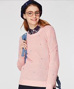 Winter fashion pink Acrylic knit sweater knitwear women