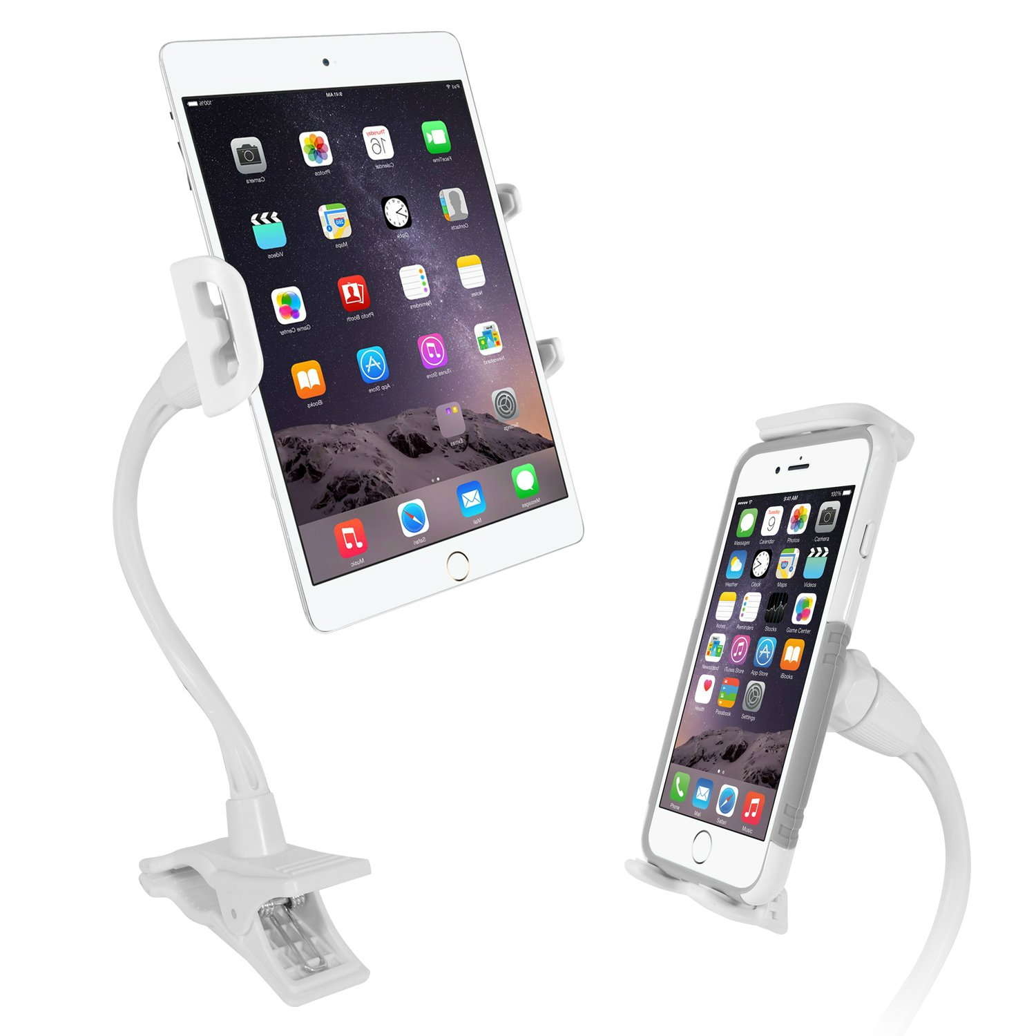Macally 2-in-1 Tablet Clamp & Cell Phone Clip Mount Holder Stand with a Lazy Flexible Gooseneck for the Bed Desk or Kitchen Table- Works with the iPad Pro 10.5/9.7 Air Mini Kindle Samsung iPhone etc.