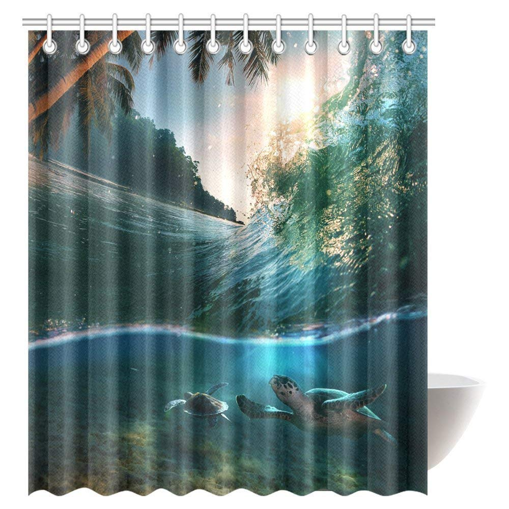 Get Quotations Tropical Ocean Shower Curtain Set Turtle Swimming Underwater Bath Waterproof Fabric Bathroom Decor With Hooks