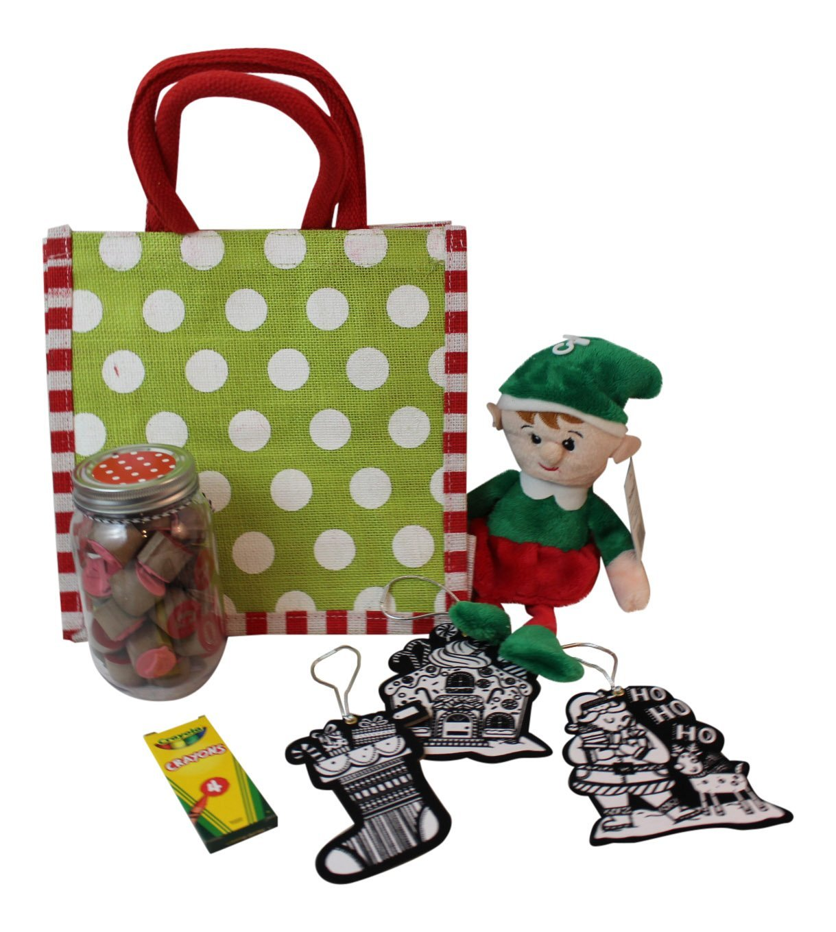 7 pc Kid's Arts and Craft Bundle with Stuffed Plush Elf toy, and Carrying Tote Includes: Soft Plush Elf Toy, Carry tote, Crayons, Color Your Own Ornaments, Rubber Stamp Set