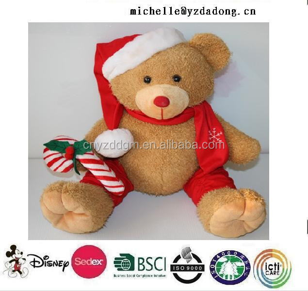 musical plush christmas bear/Plush toy musical Christmas teddy bear stuffed toy for Christmas gift/plush singing christmas bear