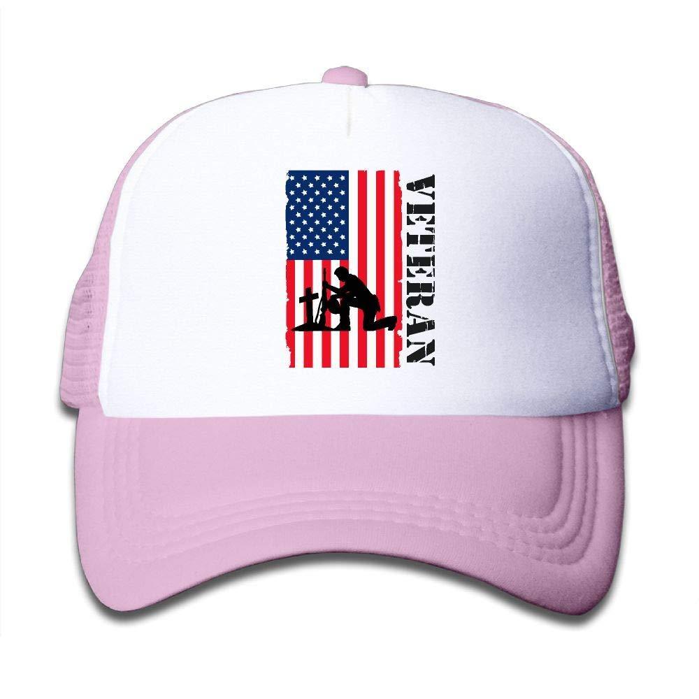 American Veteran Soldier Flag4 On Boys and Girls Trucker Hat, Youth Toddler Mesh Hats Baseball Cap