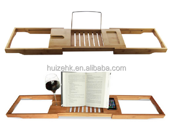 Bamboo Bathtub Caddy with Extending Sides and Adjustable Book Holder Bamboo Iphone Holder Bath Accessories Hot