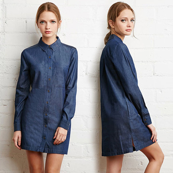 MS74733L Retro style women plain denim dress