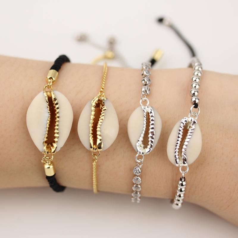 AM-YDSS102 Cowrie Shell Charm Bracelets,Cowry Bracelets,CZ Beads Chain Bracelets фото