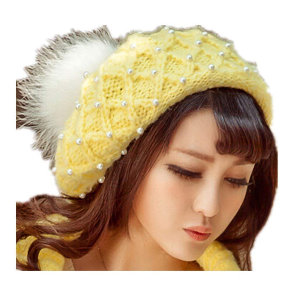 ALVA Manual customization heap after pearl knitting fashion wool hat