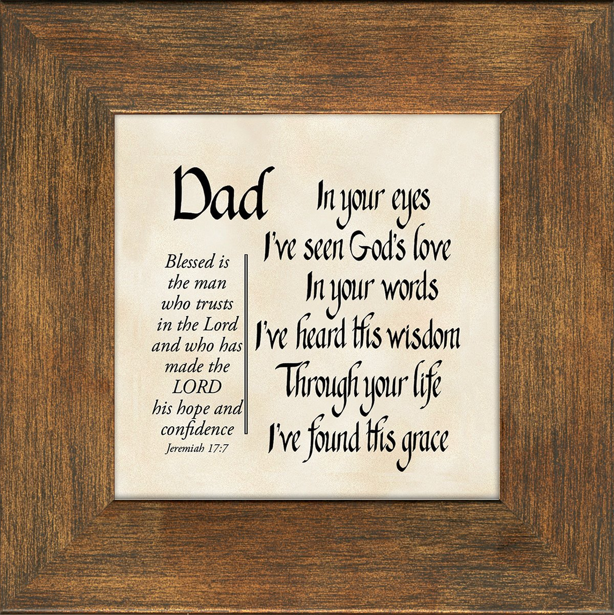 get quotations dad scripture jeremiah 177 words of encouragement and appreciation framed gift with built in