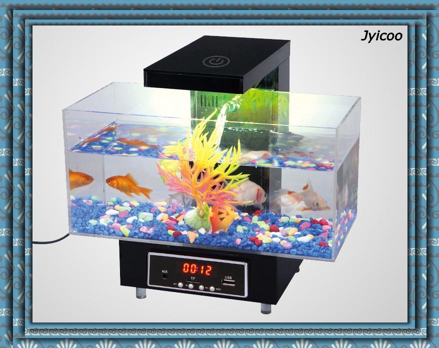 jyxd mini acuario de escritorio usb y falso pecera de vidrio para