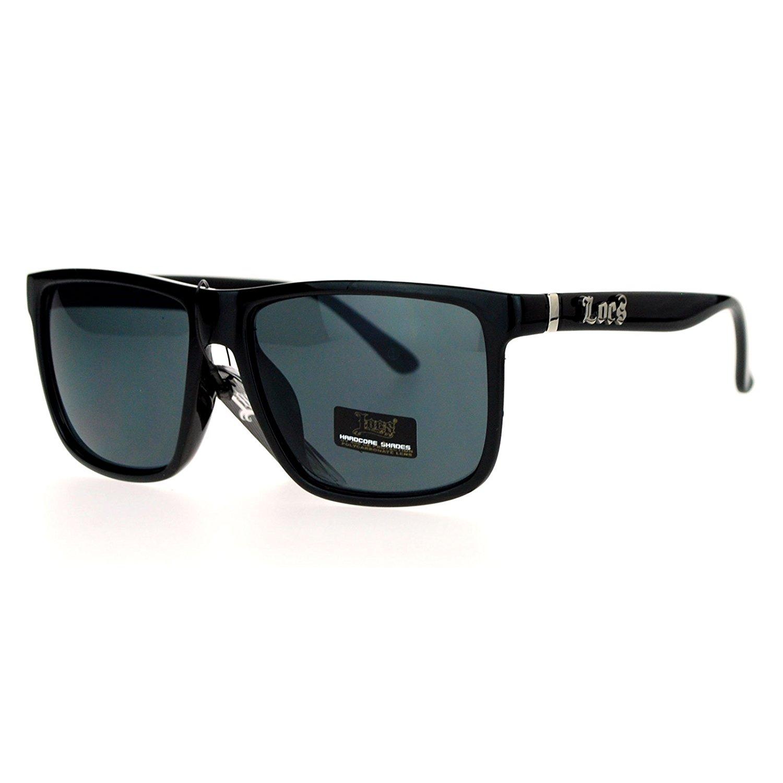 23b490f83ec882 Get Quotations · Locs Mirrored Lens Gangster Oversized Rectangular Horned  Sunglasses
