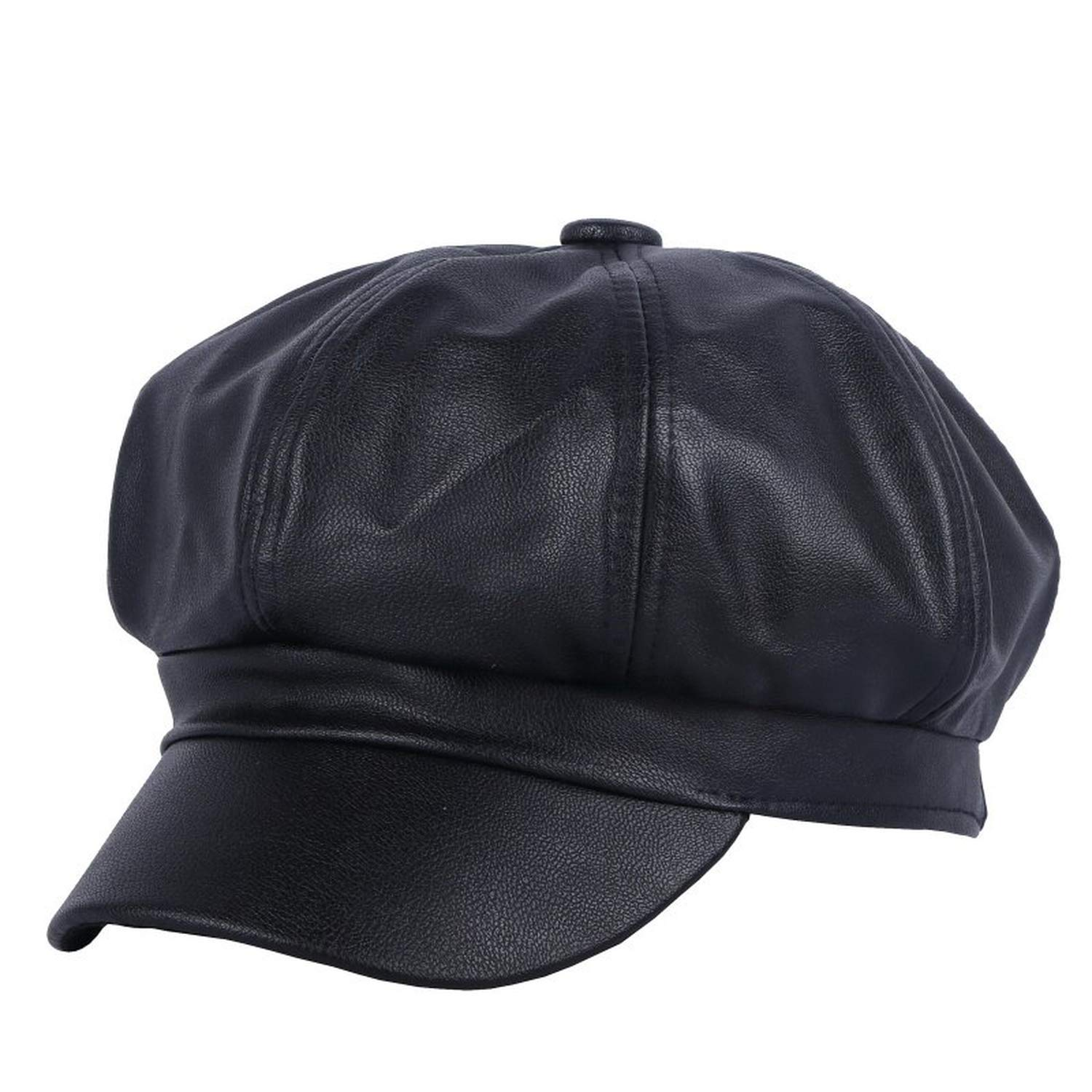 Get Quotations · Women New Octagonal Hats Fashion Newsboy Cap for Women Pu Solid  Leather 54-57Cm Thick b423bc10ccb2