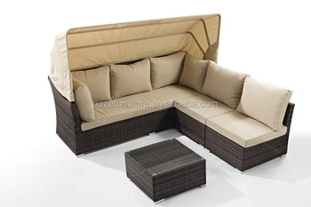 Sectional Garden Corner Furniture With Canopy, Rattan Leisure Lounge Daybed