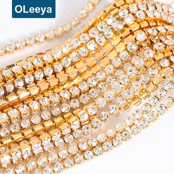 factory crystal AAA rhinestones cup chain trim crystal golden base  rhinestone cup chains for nail art fa0861d599d7