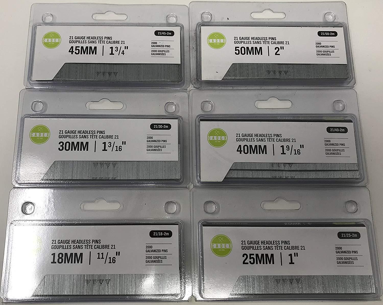 """CADEX 21 GA GAUGE PIN NAIL ASSORTMENT 11/16"""" - 2"""" 6 SIZES 12,000 NAILS (2,000 ea 11/16"""", 1"""", 1-3/16"""", 1-9/16"""", 1-3/4"""", and 2"""")."""
