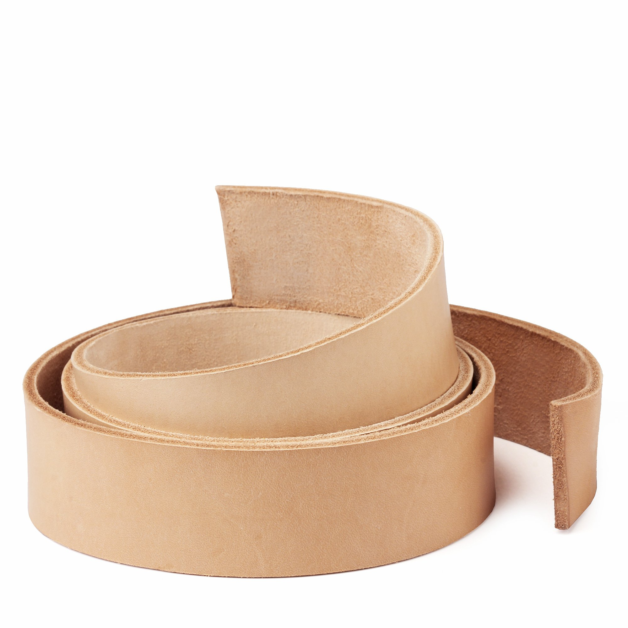 """WUTA Leather Natural Cowhide Leather Strap Vegetable Tan Leather Belt Blank Import 9/10 oz (45""""-50"""") 38mm (1.5"""") width"""