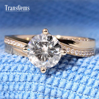 2 Carat GH Color Moissanite Ring with Real Diamond Accent Stone for Solid 14K 585 Yellow Gold Women Engagement Rings