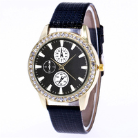 Popular J8215 movet 20mm leather watch black strap crystal timepieces diamond brand watches for women