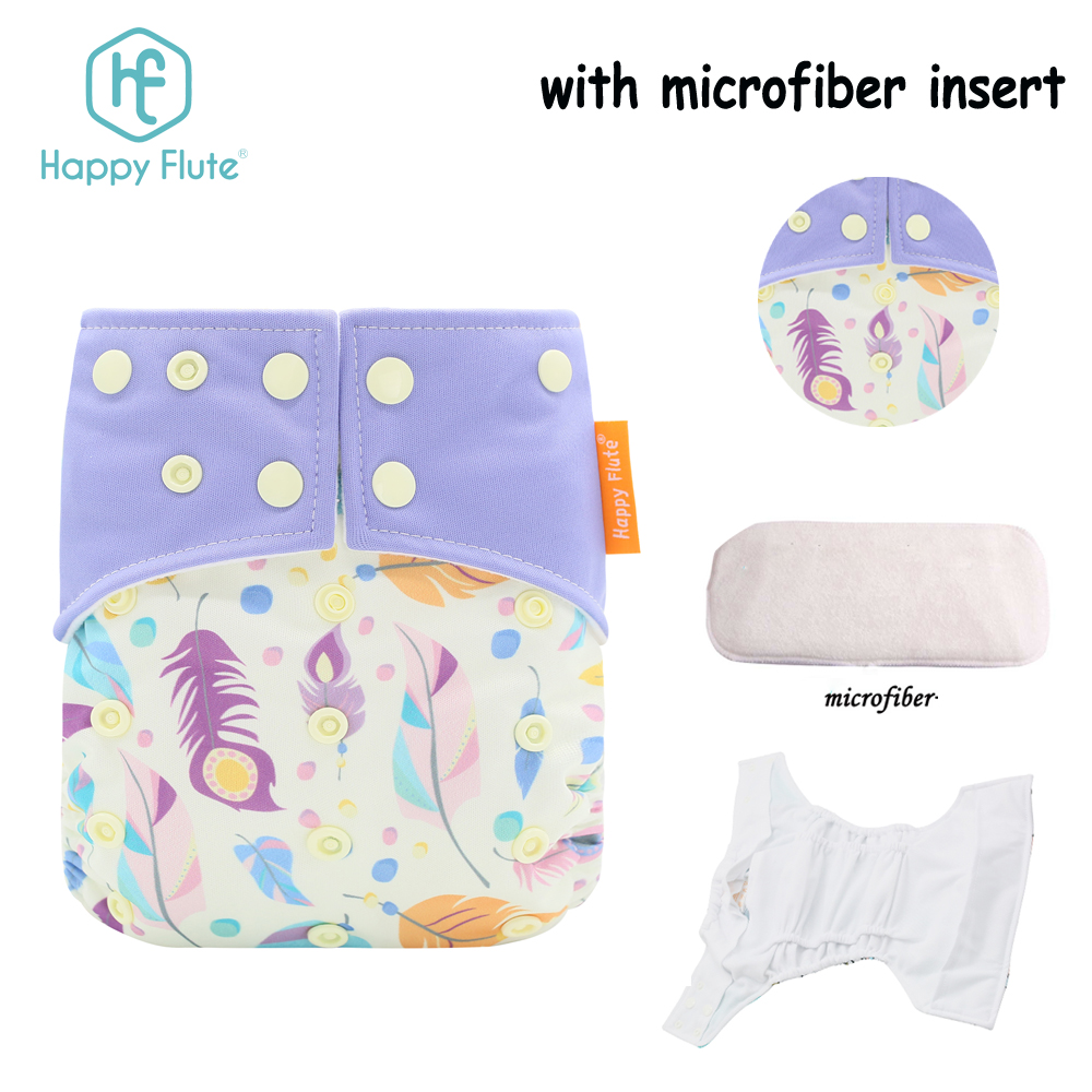 Happy Flute 2018 new patten baby cloth diaper suede cloth diaper with inserts reusable cloth diaper, Colorful