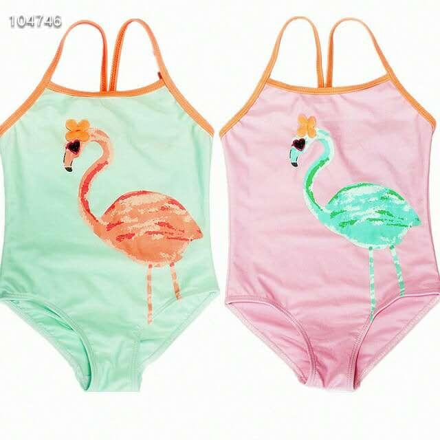 2019 ยุโรปและสไตล์อเมริกันสาว one - piece ชุดว่ายน้ำ flamingo การ์ตูนชุดว่ายน้ำเด็กเล็กเด็ก