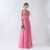 100% Real Sample A-Line Beads Skin Pink Chiffon Prom Dresses 2018 Wholesale One shoulder Cheap Long Prom Gowns