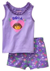 kids Pajama American Doll Dora Pattern Vest Short Children Sleeping Wear