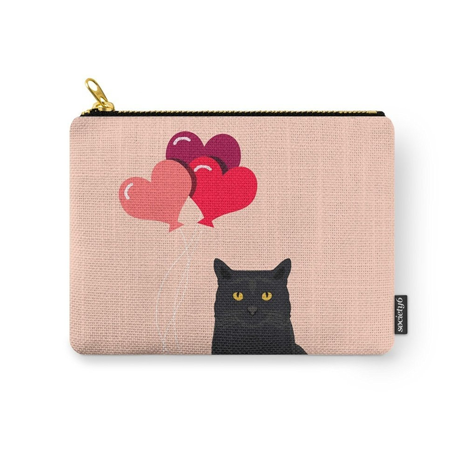 Society6 Black Cat Love Balloons Valentine Gifts For Cat Lady Cat People Gifts Ideas Funny Cat Themed Gifts Carry-All Pouch