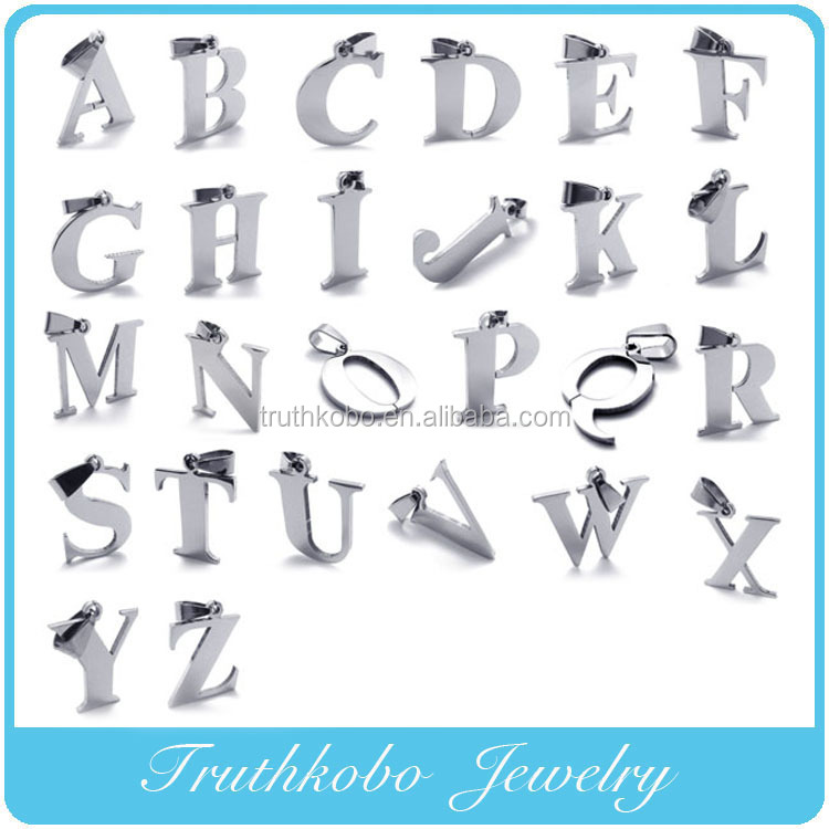 2017 Fashion Trend High Polishing Laser Cut Stainless Steel Shiny Metal Alphabet Letter Necklace Pendants