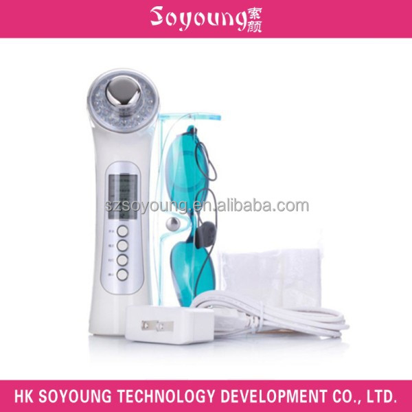 Rechargeable LED light ultrasonic photon facial massager