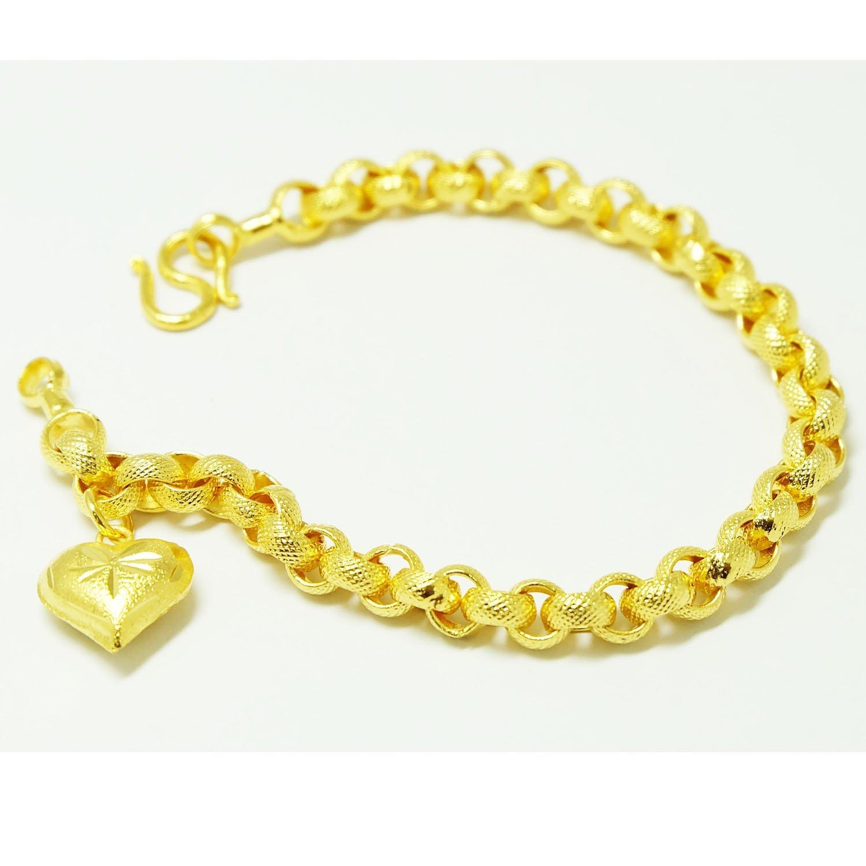 Heart Bracelets Bangle 18k 22k 23k 24k Thai Baht Yellow Gold Plated