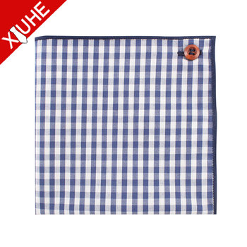 Handmade Private Label Cotton Handkerchief Traditional Checked Pocket  Square Custom with Button, View Checked Pocket Square, OEM Product Details  from