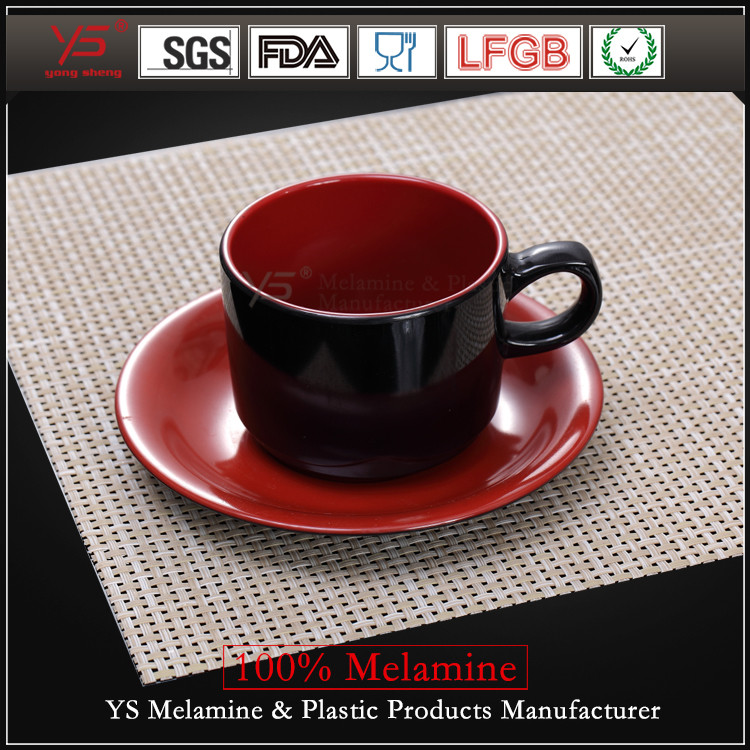 Elegant appearance 100% melamine plastic tea cups and saucers bulk