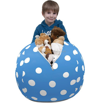 Stuffed Animal Storage Bean Bag Chair In Ocena Blue With White Polka Dots
