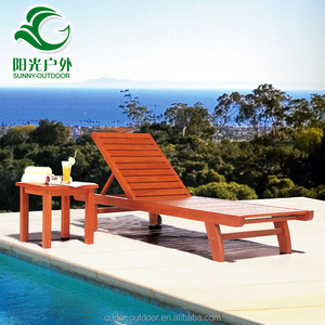 Cheap price swimming pool outdoor furniture wooden sun loungers chair beach bed