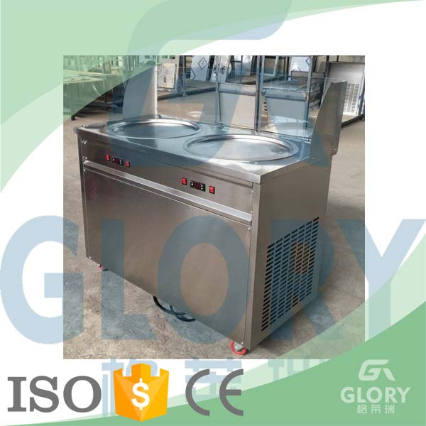 Golden Supplier Double Pan Flat Pan Fry Ice Cream Machine with Lowest Price