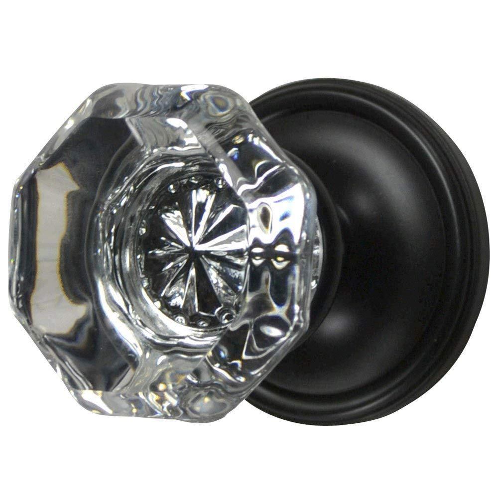 Providence Octagon Crystal Door Knob Set with Victorian Rosette in Oil Rubbed Bronze (Privacy Bed/Bath)