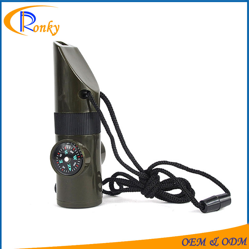 7 In 1 Multifunction emergency outdoors survival plastic whistle with Compass Thermometer Magnifier Viewfinder