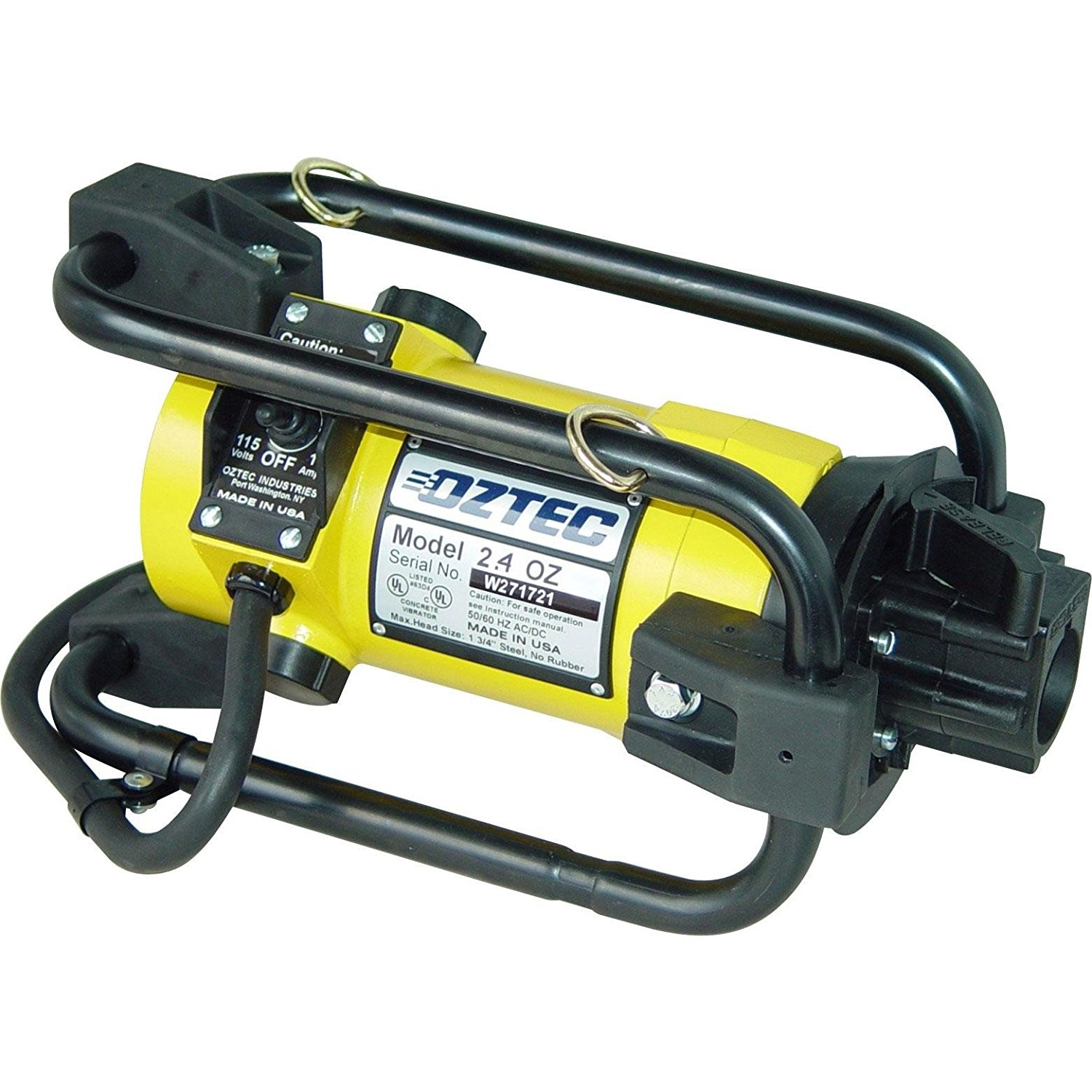 """OZTEC 2.4SV-FS07SS-H168SS Stow Type Concrete Vibrator, 1 Phase, AC/DC, 17 Amp Motor, 7' Flexible Shaft, 1-11/16"""" Head"""