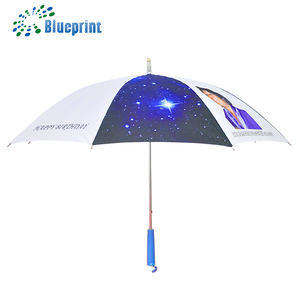 Innovative design 23 inch polyester white safety runner star custom led light umbrella with manual open and close
