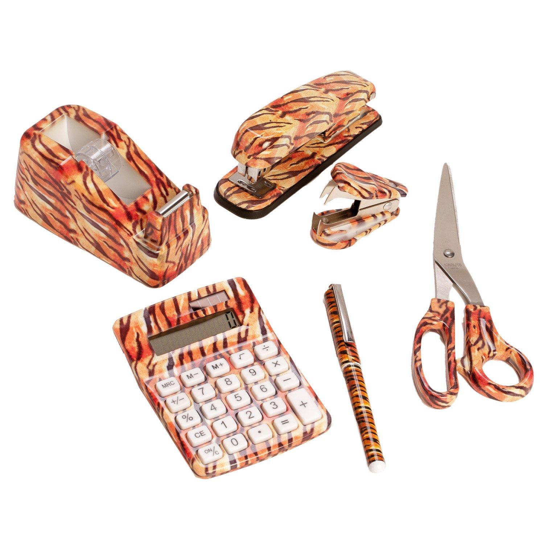 SilverHooks 6 Set: Tiger Animal Safari Print Office Kit, Stapler, Staple Remover, Scissors Tape Dispenser, Calculator & Pen