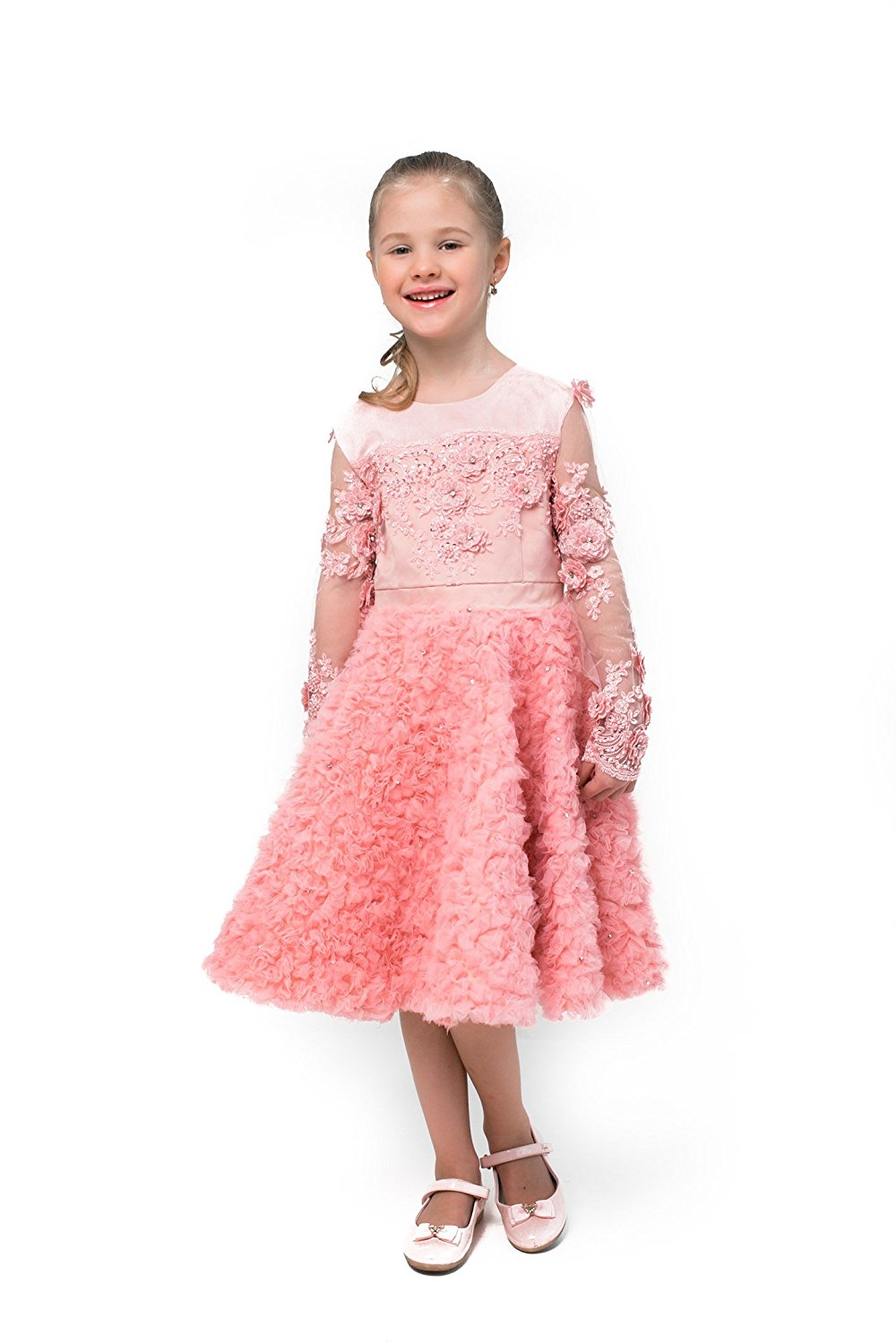 fa1ec0ca0ce5 Get Quotations · Beautiful Royal Lace Pink Flower Girl Dress - Birthday  Wedding Party Holiday Bridesmaid Flower Girl Pageant