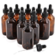 1oz 2oz 4oz amber cosmetic glass bottle with black glass dropper for essential oil